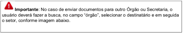 Importante: No caso de enviar documentos para